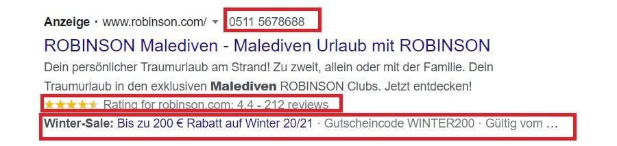 Google-Ads-Anzeigenerweiterungen