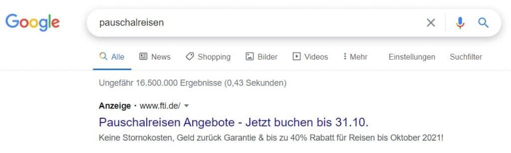 Suchanzeige Google Ads