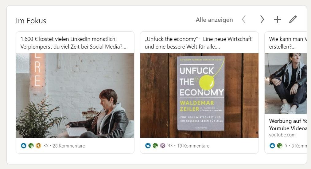 LinkedIn Fokus Bereich Beispiel