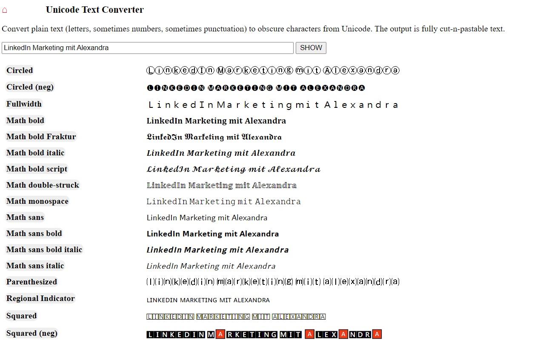 Text formatieren - LinkedIn