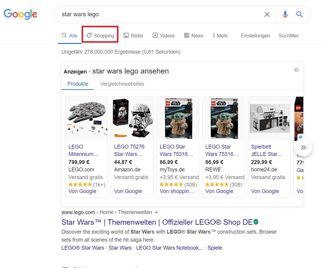 google-shopping anzeigen