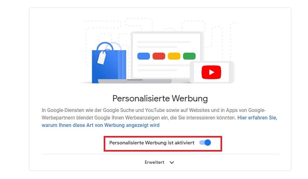 personalisierte Werbung ausschalten