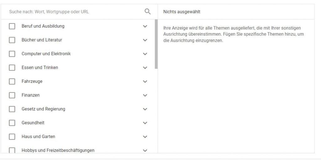 Google-Displaynetzwerk-Targeting-Themen
