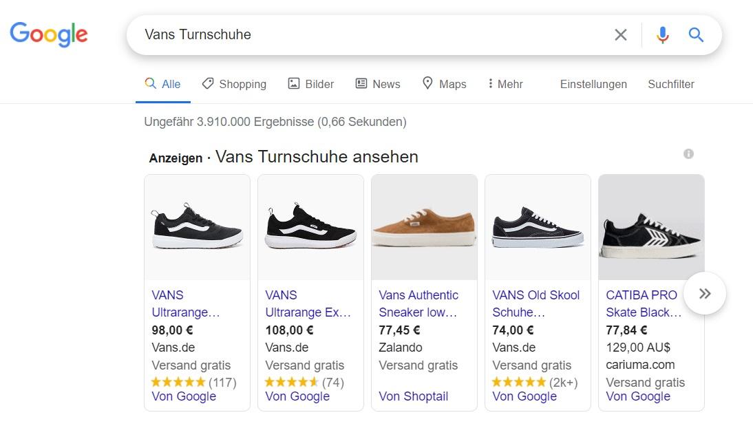 Google-Shopping Kampagne Beispiel