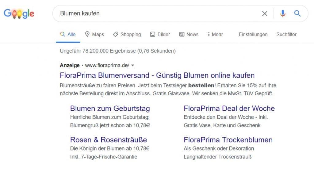 Google-Suchanzeige Beispiel