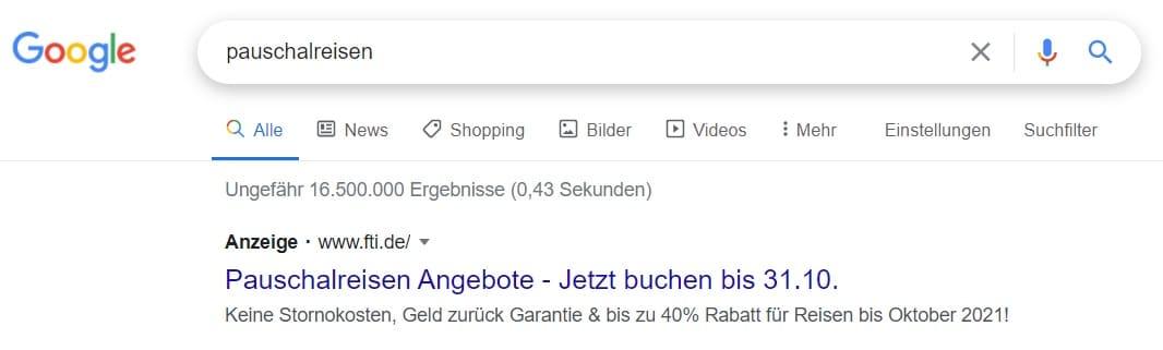 Suchanzeige-Google-Beispiel Werbeanzeige