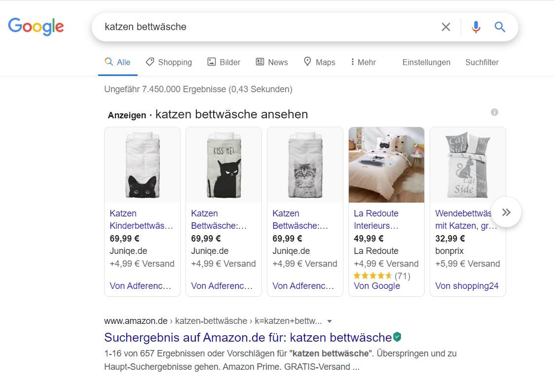 beispiel google shopping anzeigen